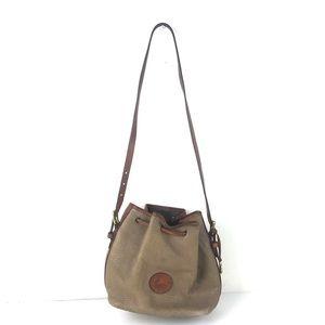 Vintage Dooney & Bourke Tan Brown Trim Bucket Bag